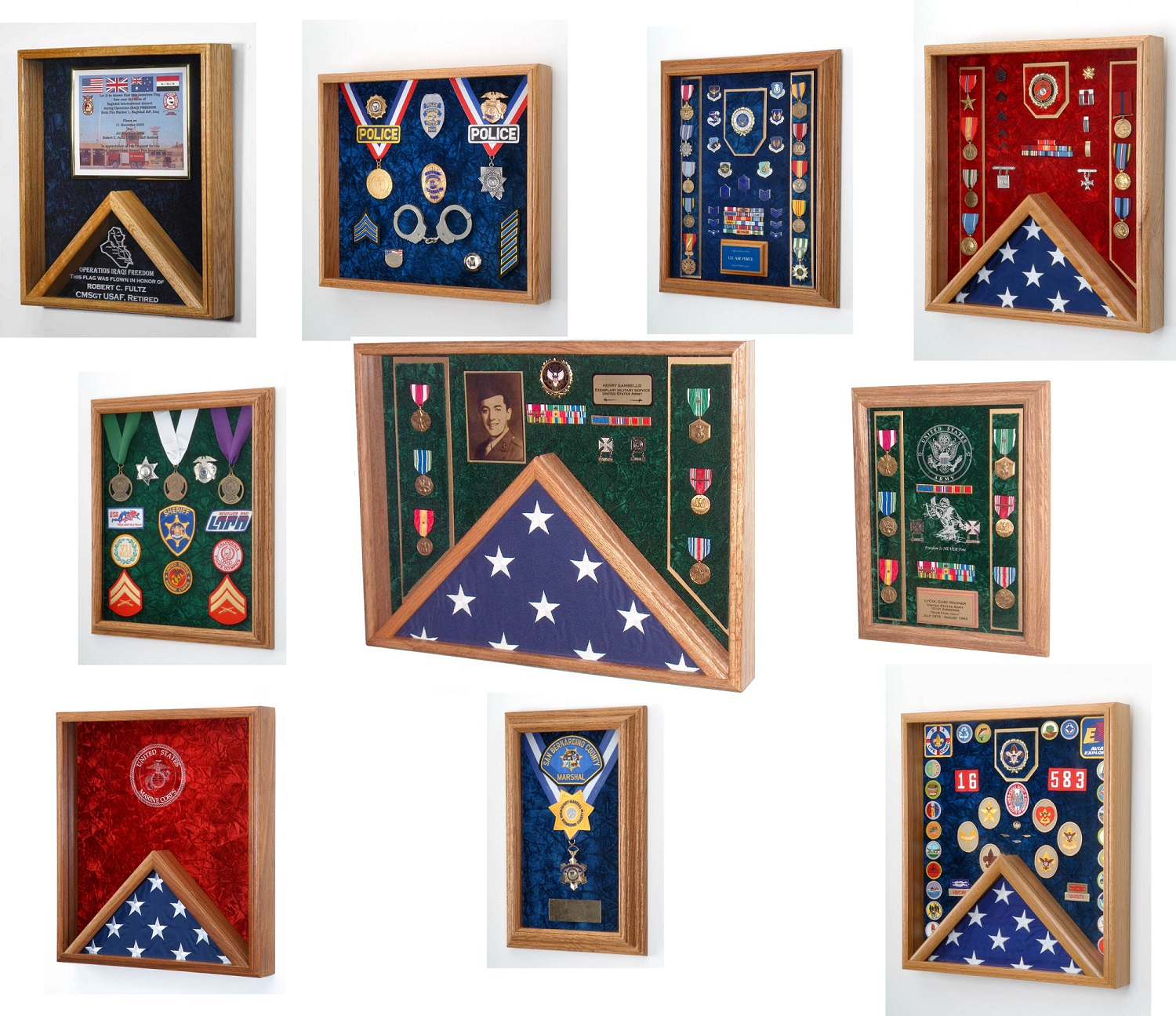 Military Medals Shadow Boxes, Law Enforcement & Firefighter Display Cases Product Samples