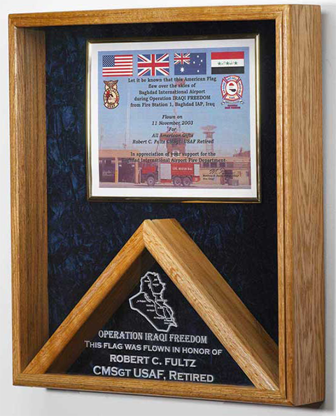 Military Flag and Certificate display case #40